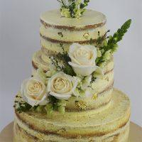 Torta Seminaked con Rosas Blancas Naturales